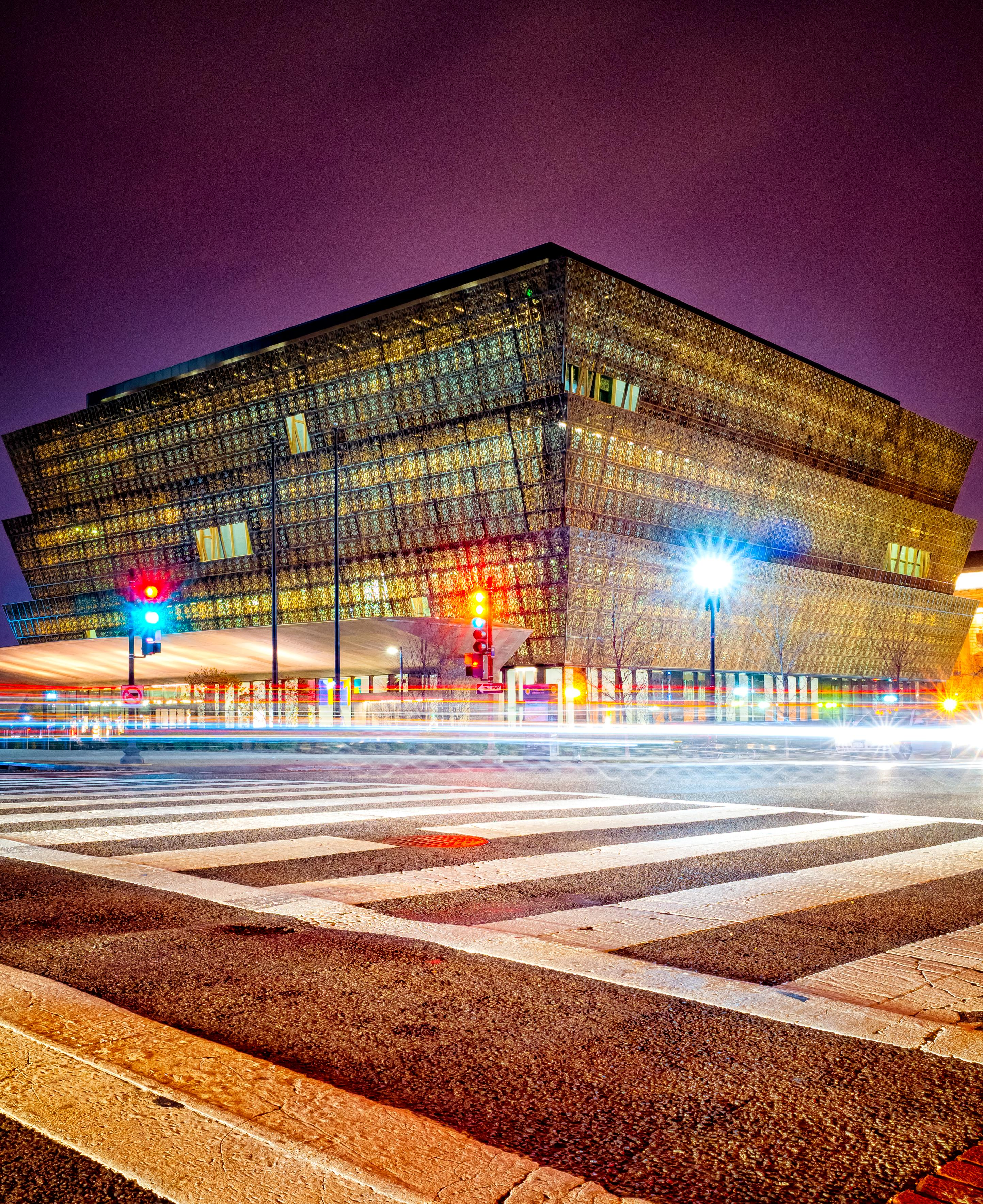 Long exposure shot of the African American History Museum just before it started raining. Taken December, 2017. (Image: Adam Brockett){ }