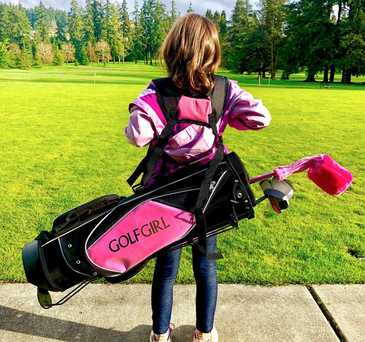 Daughter Riley loves playing golf with her family. (Image: Jason Mesnick)
