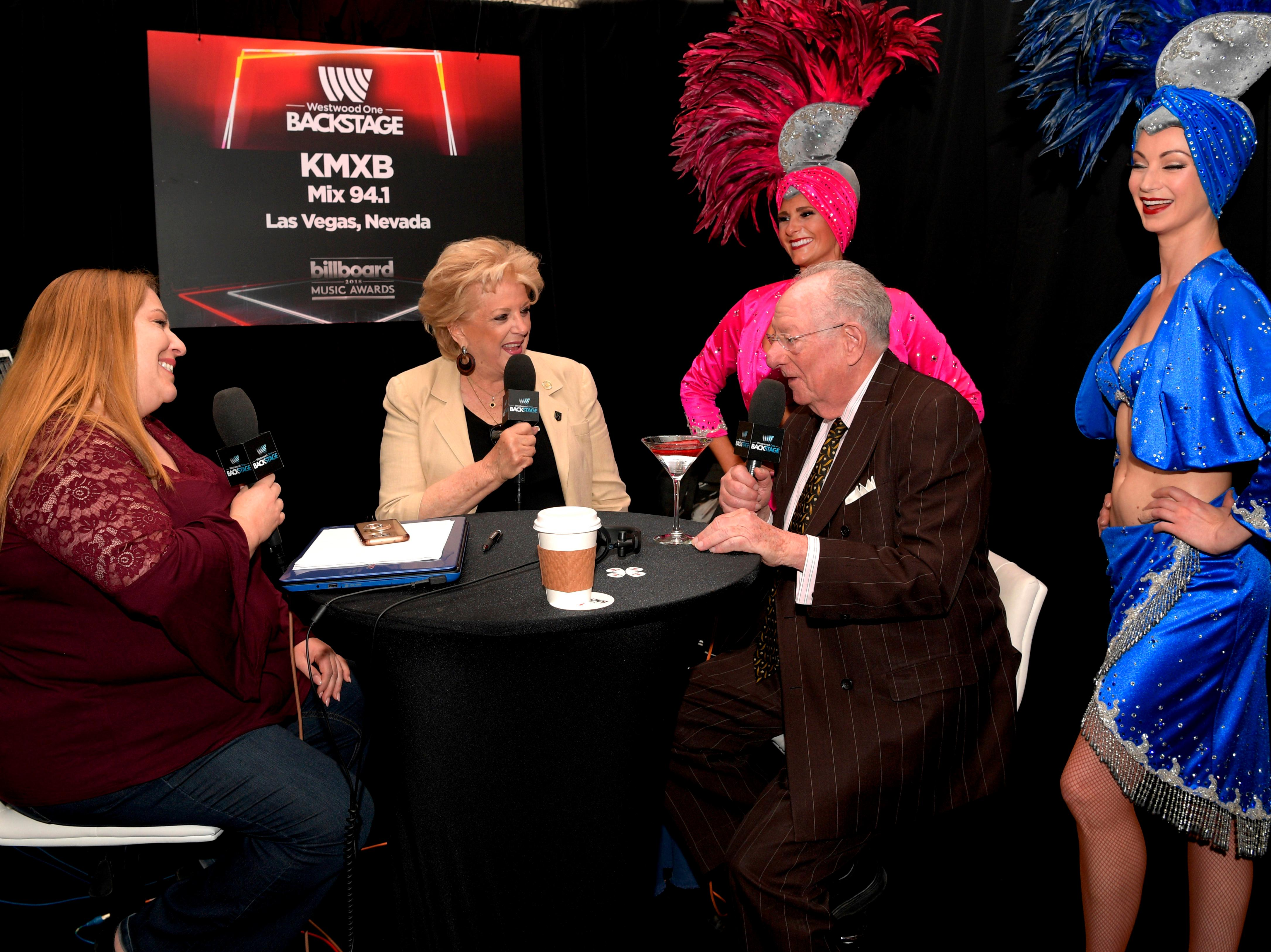 Las Vegas Mayor Carolyn G. Goodman and former Las Vegas Mayor Oscar B. Goodman are interviewed by KMXB Las Vegas radio at the Billboard Music Awards Radio Row with representatives from across the country at the MGM Grand Hotel & Casino on the Las Vegas Strip. Saturday, May 19, 2018. CREDIT: Glenn Pinkerton/Las Vegas News Bureau