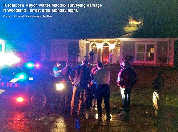 Tuscaloosa Mayor Walter Maddox surveyed the storm damage in the Woodland Forrest area Monday night, April 28, 2014. (Cit of Tuscaloosa Photo)