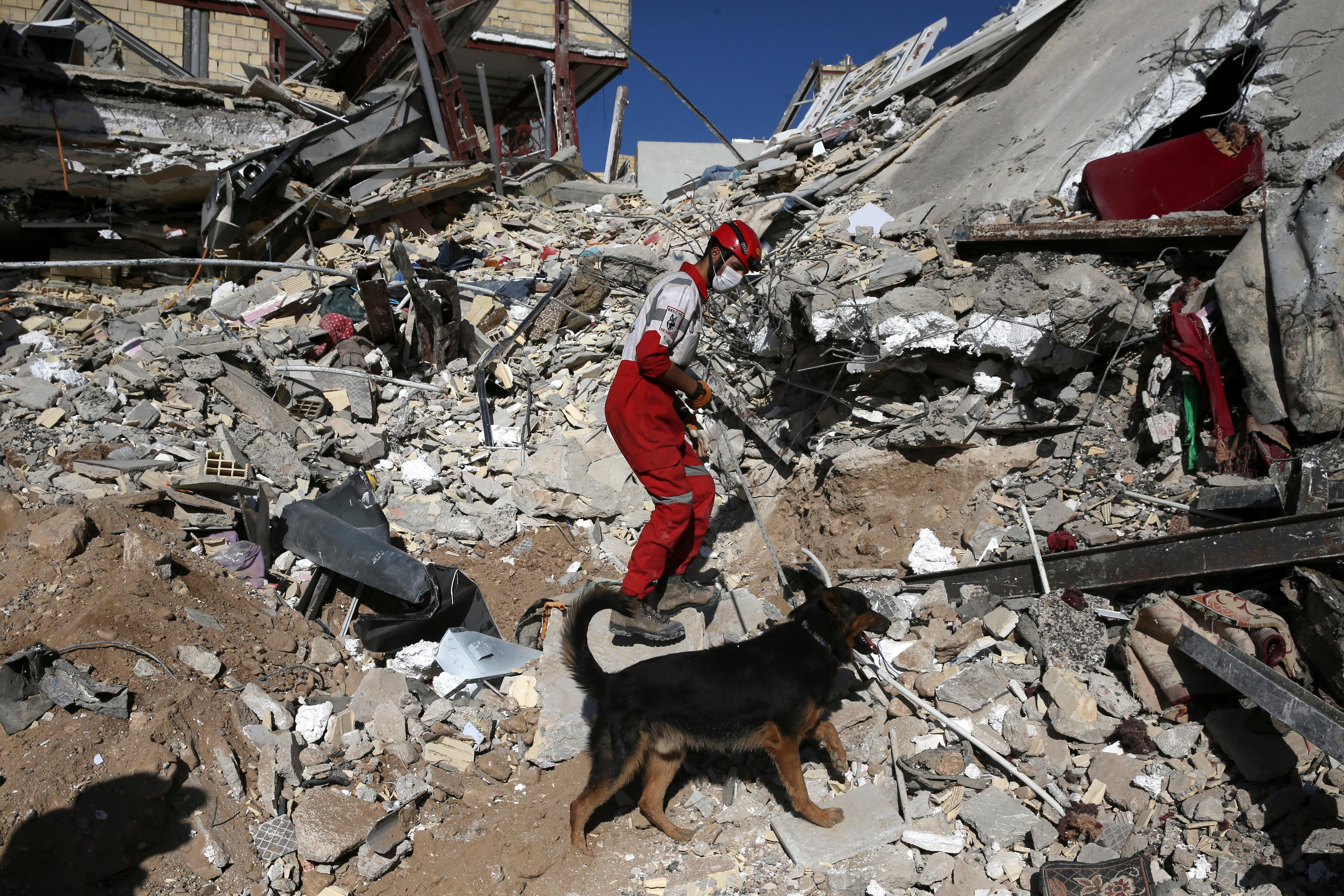 A rescue worker searches the debris with his sniffing dog on the earthquake site in Sarpol-e-Zahab in western Iran, Tuesday, Nov. 14, 2017. Rescuers are digging through the debris of buildings felled by the Sunday earthquake that killed more than four hundreds of people in the border region of Iran and Iraq. (AP Photo/Vahid Salemi)