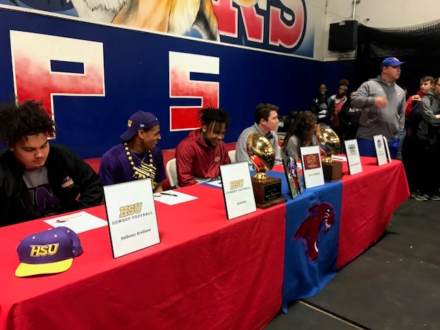 Abilene Cooper signing day: Anthony Arellano and KJ Kelley to Hardin-Simmons for football; Tyrees Whitfield to Midwestern State for football; Dakota Russell-David to McMurry University for football; and Alexandria Rodriguez to Lubbock Christian University for soccer.<p></p>