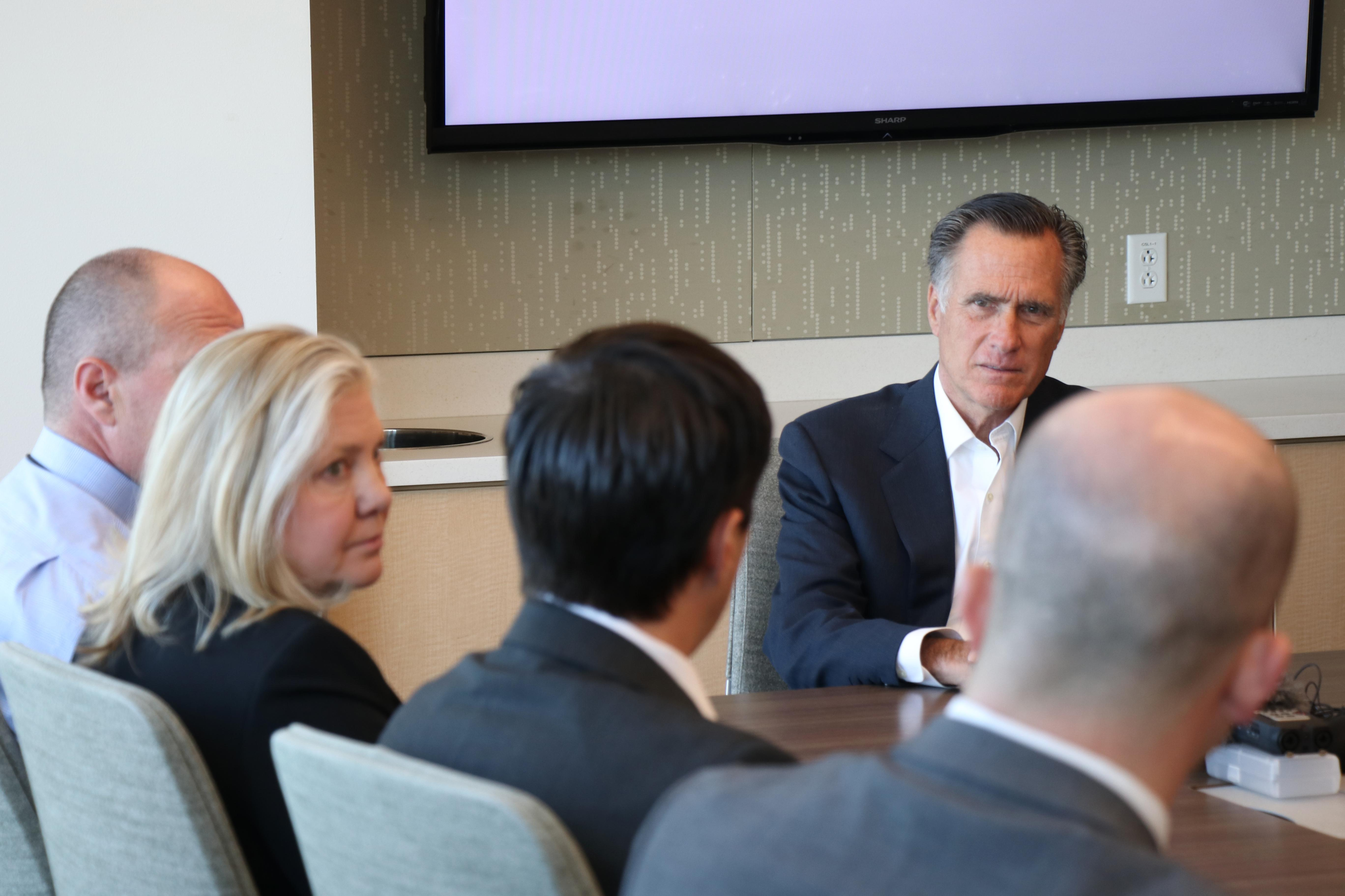 Sen. Mitt Romney spoke with Utah experts Thursday to discuss vaping illness and anti-vaping efforts. (Photo: Larry D. Curtis / KUTV)