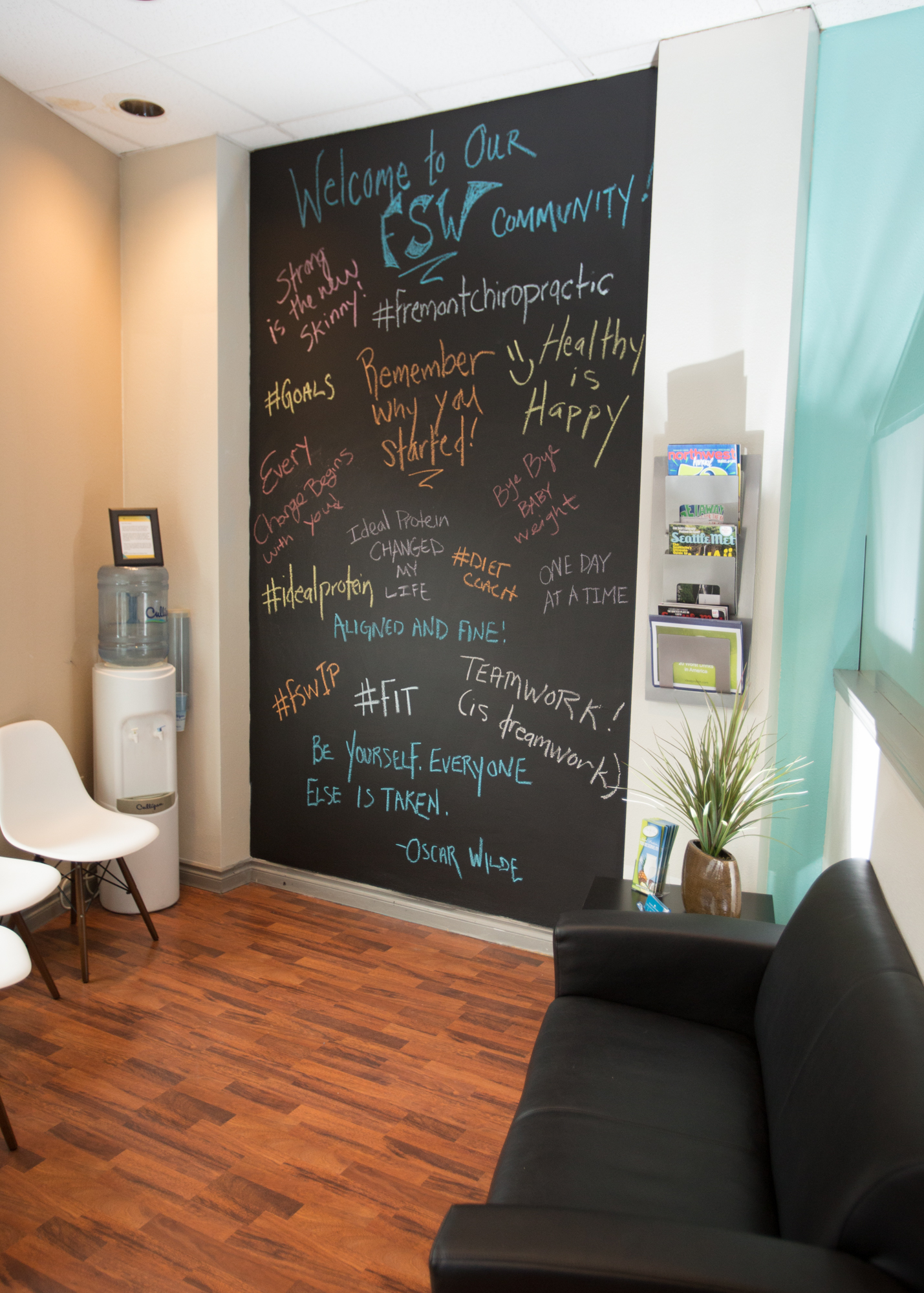 This chalk board wall is full of positive affirmations and pick me ups.  Such a supportive environment.  Any guesses which one I wrote?  Hint, it has to do with a baby!                                           (Image: The Jeremy Townsend Experience)