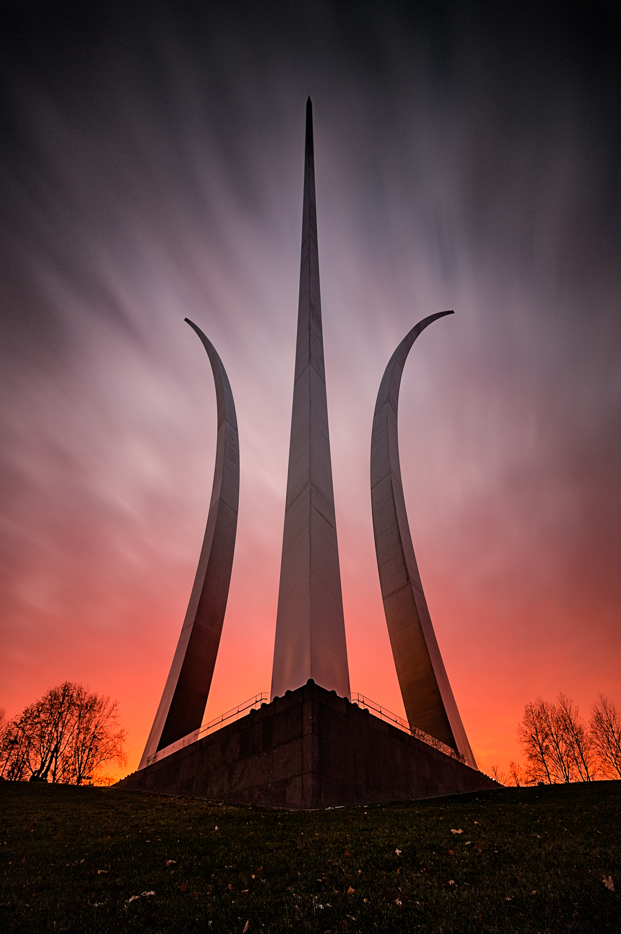 To the Limit – An incredible sunset glows behind the Airforce Memorial{&amp;nbsp;} (Image: Zack Lewkowicz)<p></p>