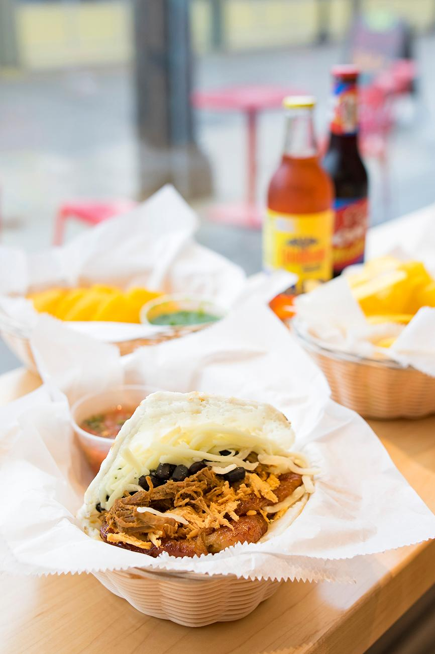 The Great Arepa!: beef, chicken, chorizo, black beans, cheese, and sweet plantains / Image: Allison McAdams // Published: 3.4.19