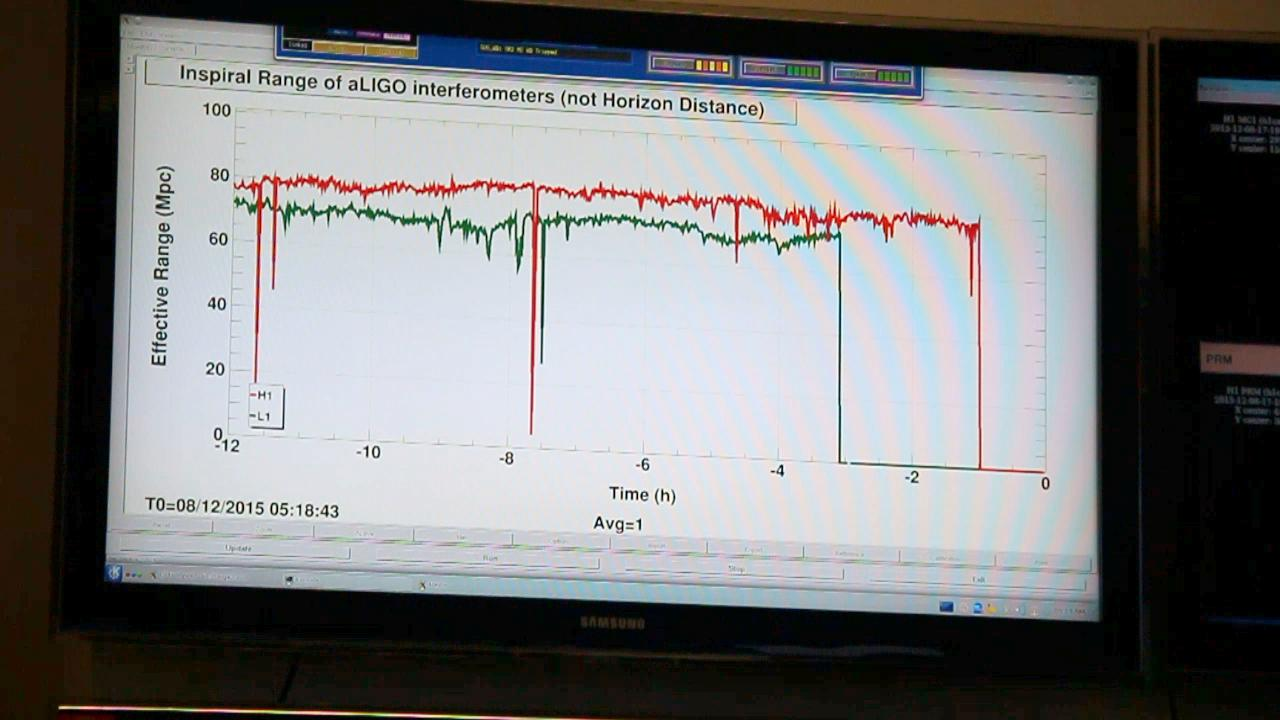 "One of the monitors in the control room shows how far LIGO is ""seeing"" into space. Currently, LIGO's sensitivity can detect gravitational waves at about 80 Mpc (megaparsecs) or about 260 million light years from Earth. The red graph shows LIGO Hanford's range while the green show's its sister observatory in Livingston, Louisiana. Both observatories operate in tandem. (Photo: Steve Benham/KATU.com Staff)"