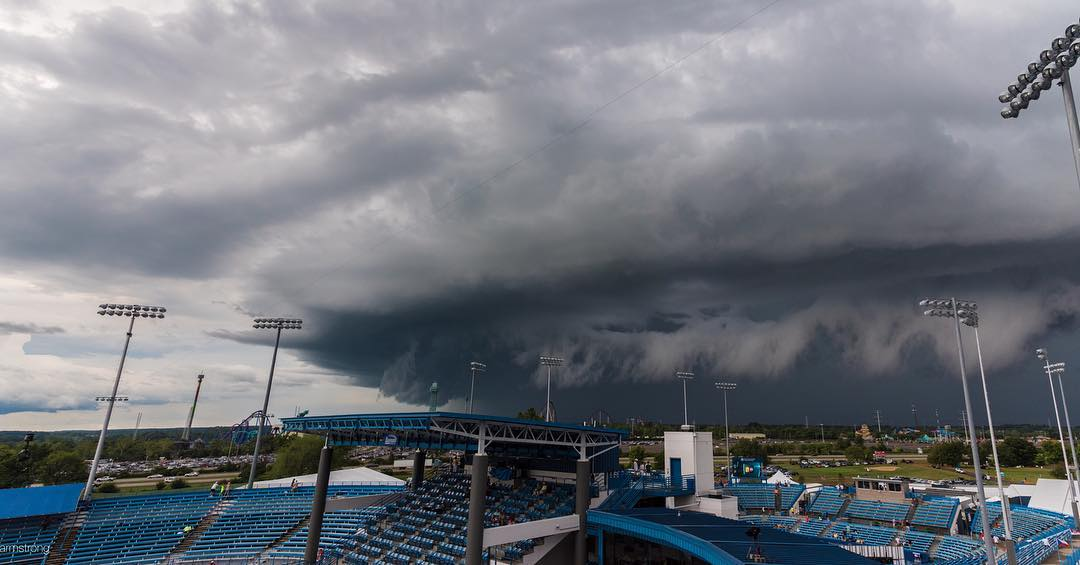 IMAGE: IG user @philenjoys / POST: Covering #CincyTennis Monday and climbed to the top of the stands to gawk at the massive storm that slowly made its way toward the tournament around 6 PM.
