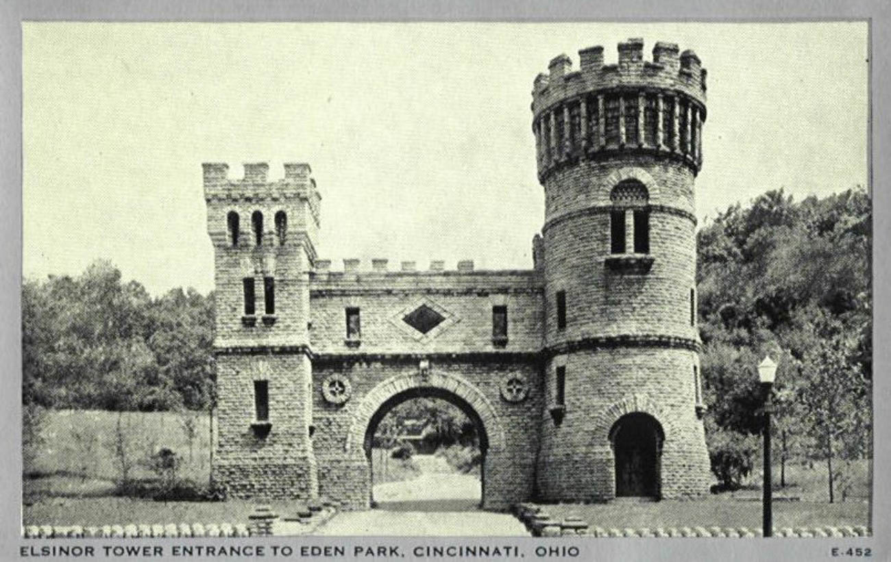 The opening scene backdrop of the production was a 65-foot painting of the play's Elsinore castle. Cincinnati Water Works Superintendent, A.G. Moore, happened to be in the audience that Friday evening on May 4th, 1883. Moore was so impressed by this castle painting, he hired the firm of Samuel Hannaford and Sons to build an identical one for the new valve house. / Image courtesy of Parks Bettman Library Archive // Published: 4.12.19
