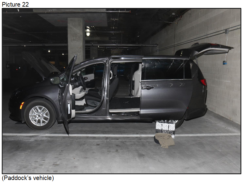 Paddock's vehicle{ }(Courtesy LVMPD)