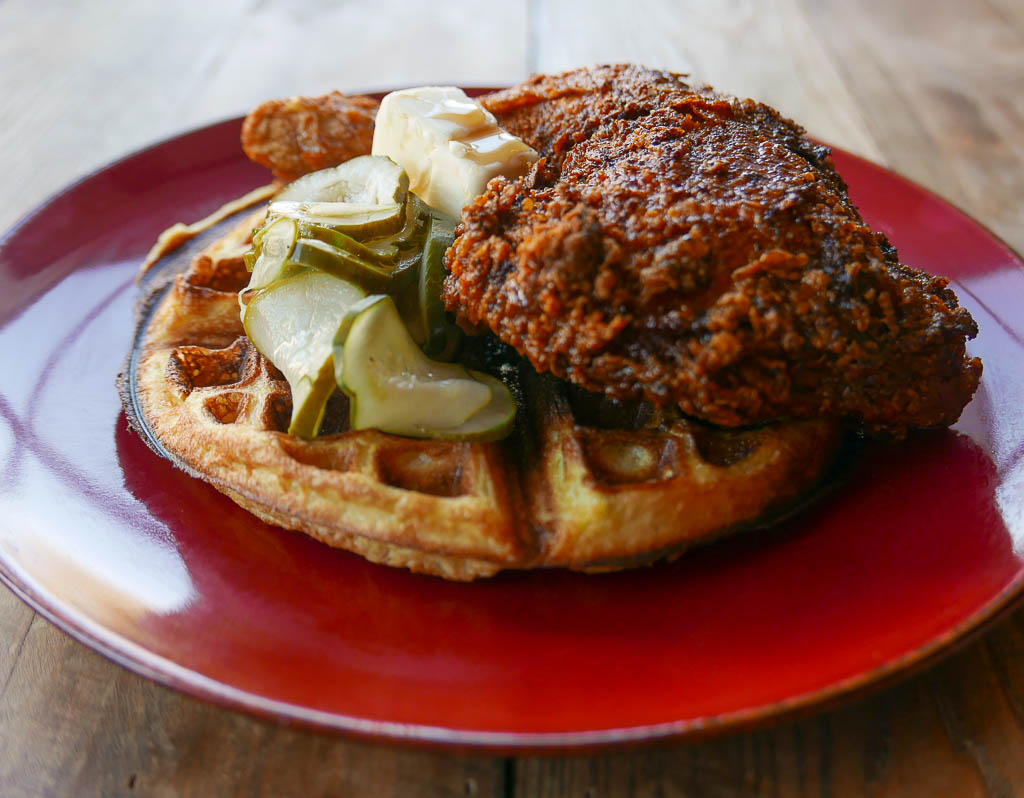 The Bird is a clucking awesome new chicken-centric eatery in Logan Circle from the creators of the Pig.  If you've got a sweet tooth opt for the Tennessee-style hot chicken accompanied by a maple syrup doused buttermilk waffle. (Image: Peter Eskra)