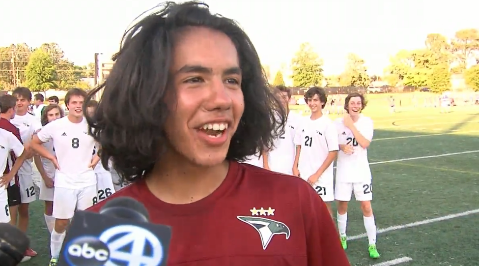 Benji Vasquez, goal keeper for Academic Magnet, made three saves during penalty kicks Friday to help lead his team to a state title. (WCIV).png