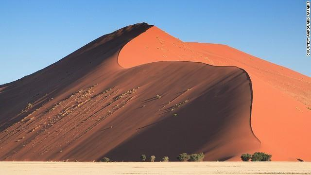 "Sossusvlei means ""the gathering place of water"". The dunes have developed over millions of years, the result of material flowing from the Orange River into the Atlantic."