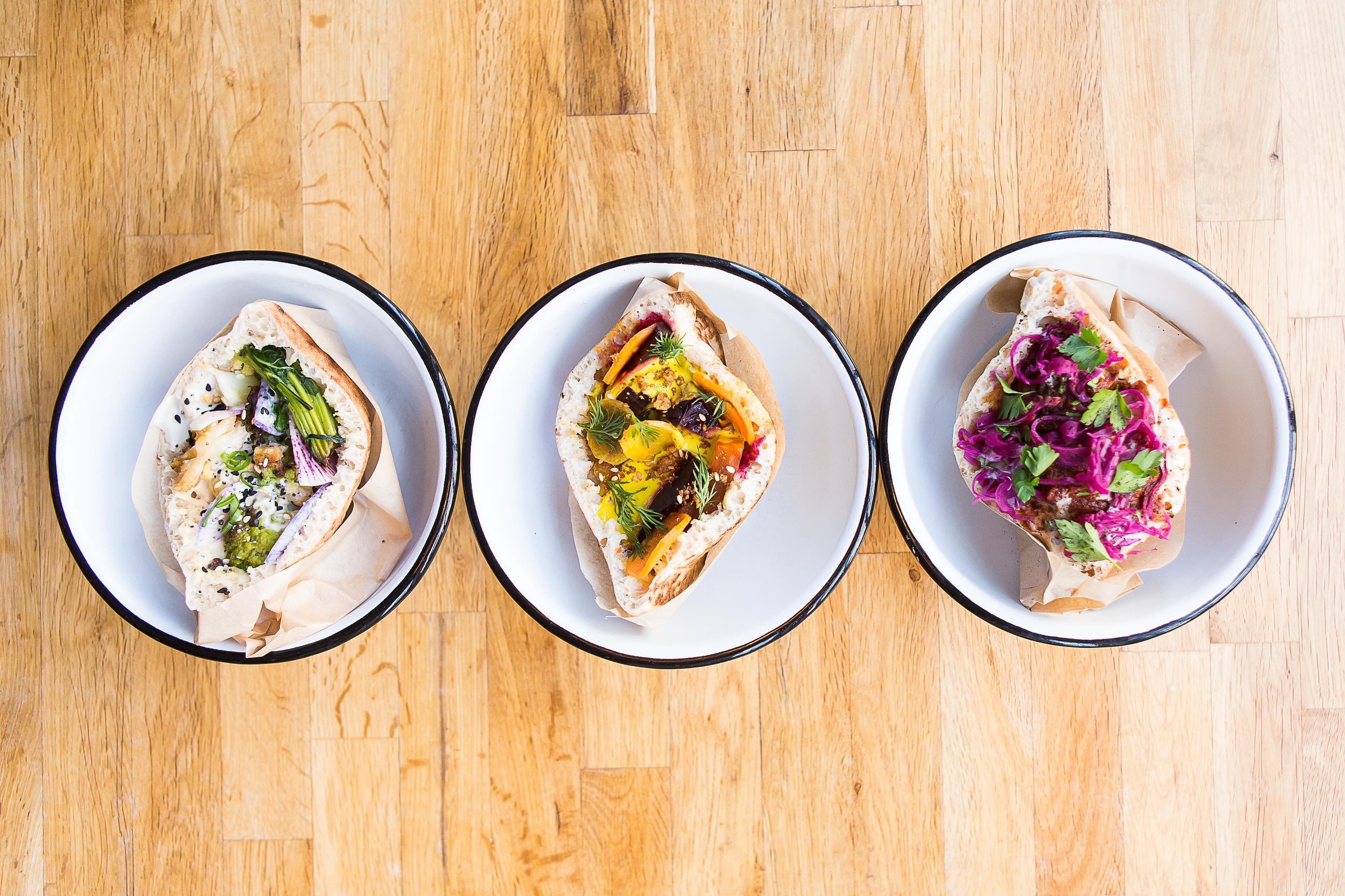 Food here comes in one of two forms: a hummus bowl or a pita sandwich.(Image: Anna Meyer)
