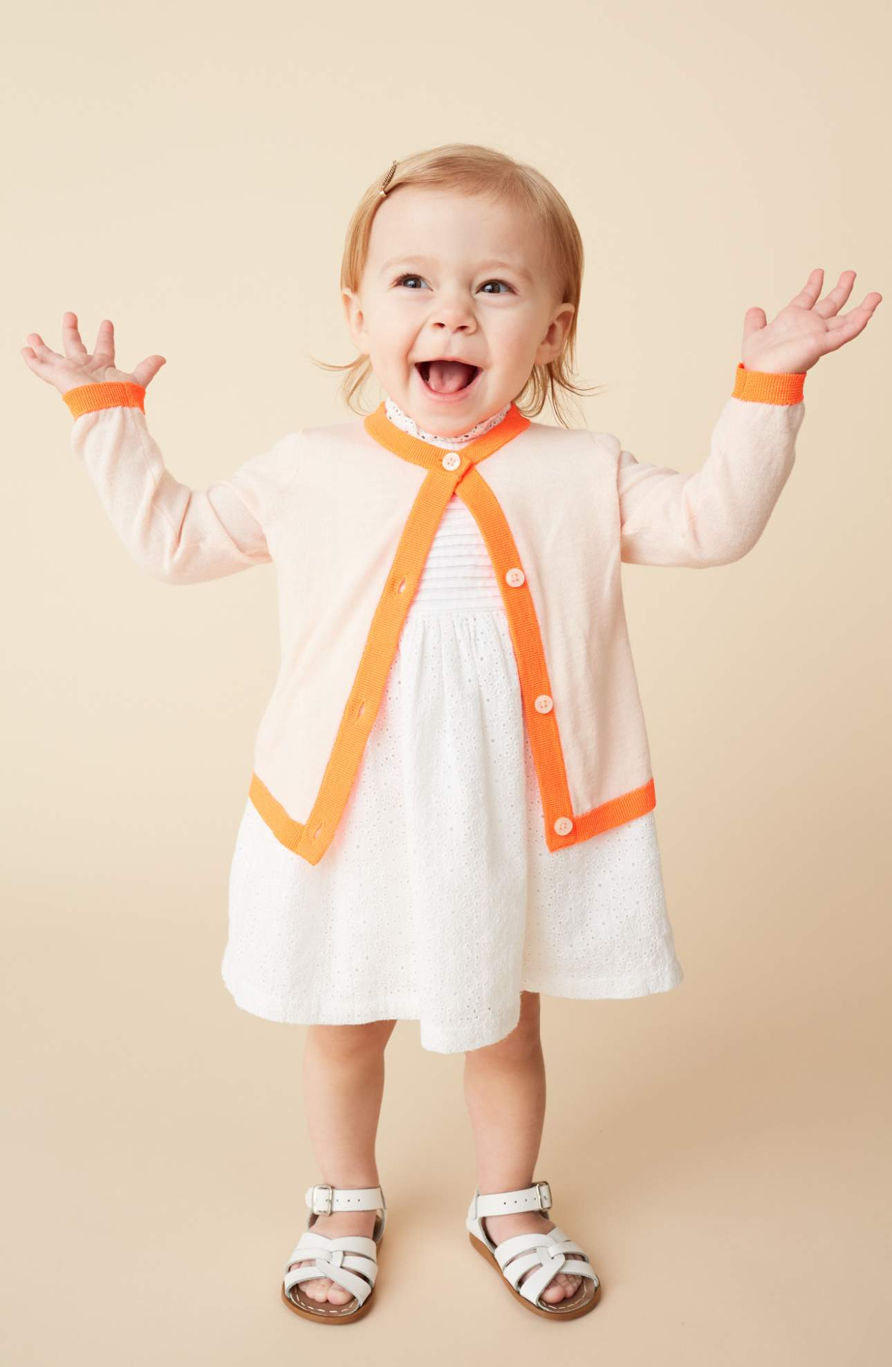 This bright contrast trim provides an energetic update for a lightweight cotton-blend cardigan. Plus your kiddo can wear this again and again and all year around. Price: $30 at Nordstrom. (Image: Nordstrom){ }