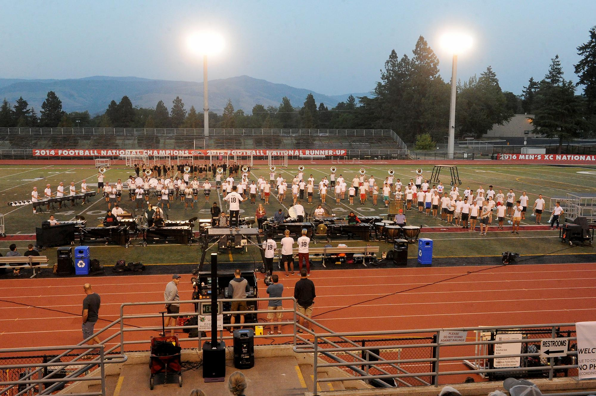 The Santa Clara Vanguard Drum and Bugle Corps gives a free performace Thursday at Raider Stadium. Photo by Denise Baratta