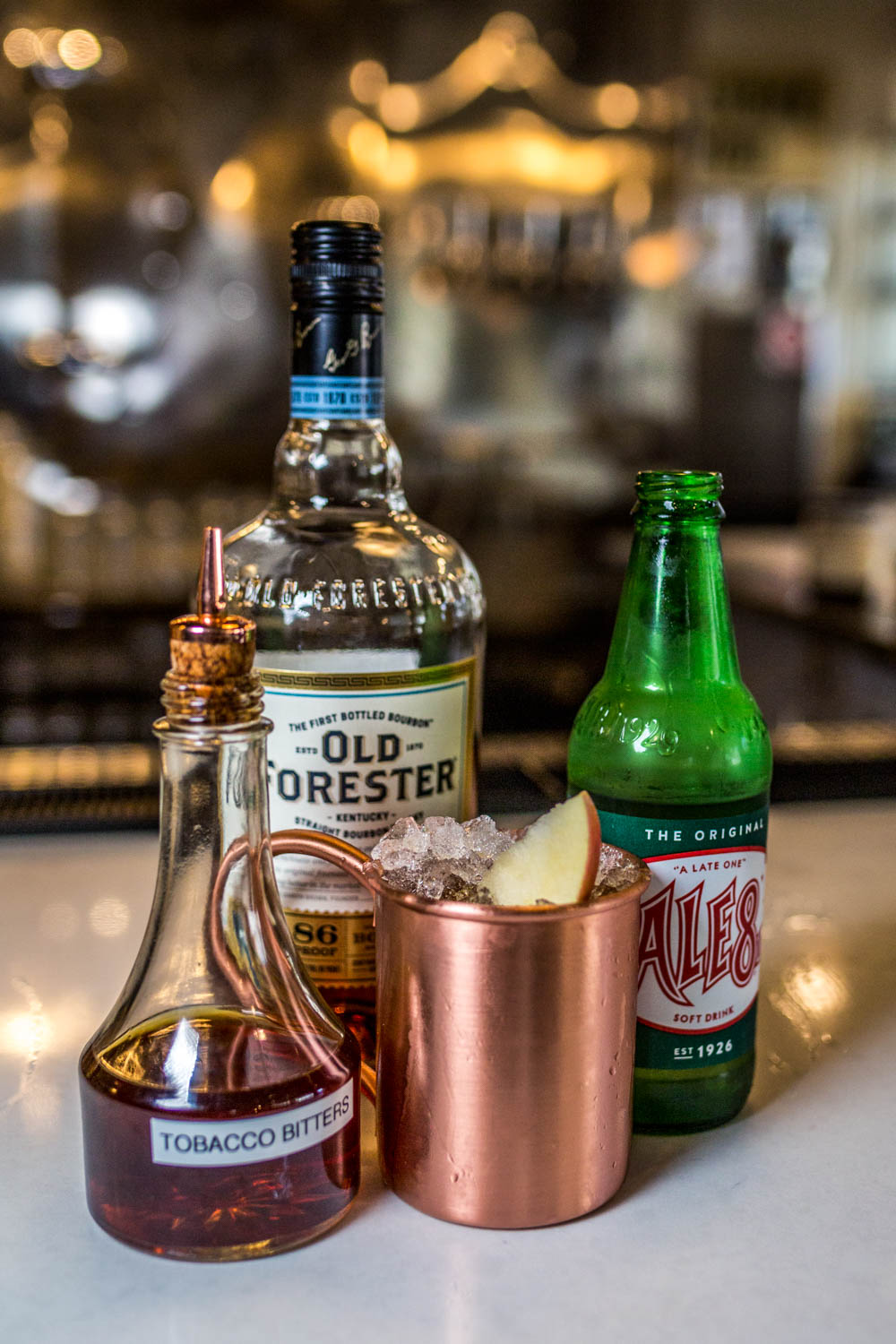 KY Tonic: bourbon, Ale 8, tobacco bitters, and apple slice served over flaked ice / Image: Catherine Viox{ }// Published: 10.17.19