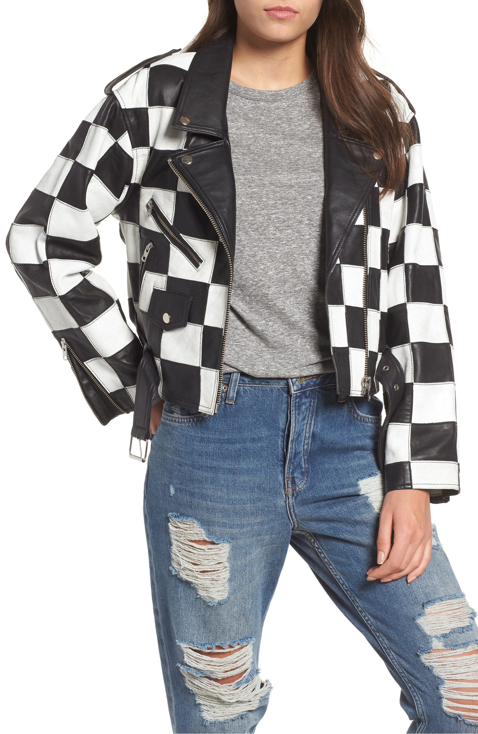 The Trend: 80s. Check out this blast from the past with this Checkerboard Leather Moto Jacket.{ }When it comes to the race to the top of the style game, slipping into this live-out-loud jacket makes you an instant winner. TOPSHOP - $370. (Image: Nordstrom)
