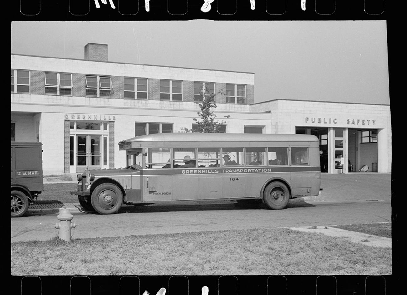 """Bus which runs between Greenhills and Cincinnati"" from October 1938 / Image: John Vachon for the U.S. Farm Security Administration/Office of War Information accessed via the Library of Congress Archives // Published: 3.4.19"