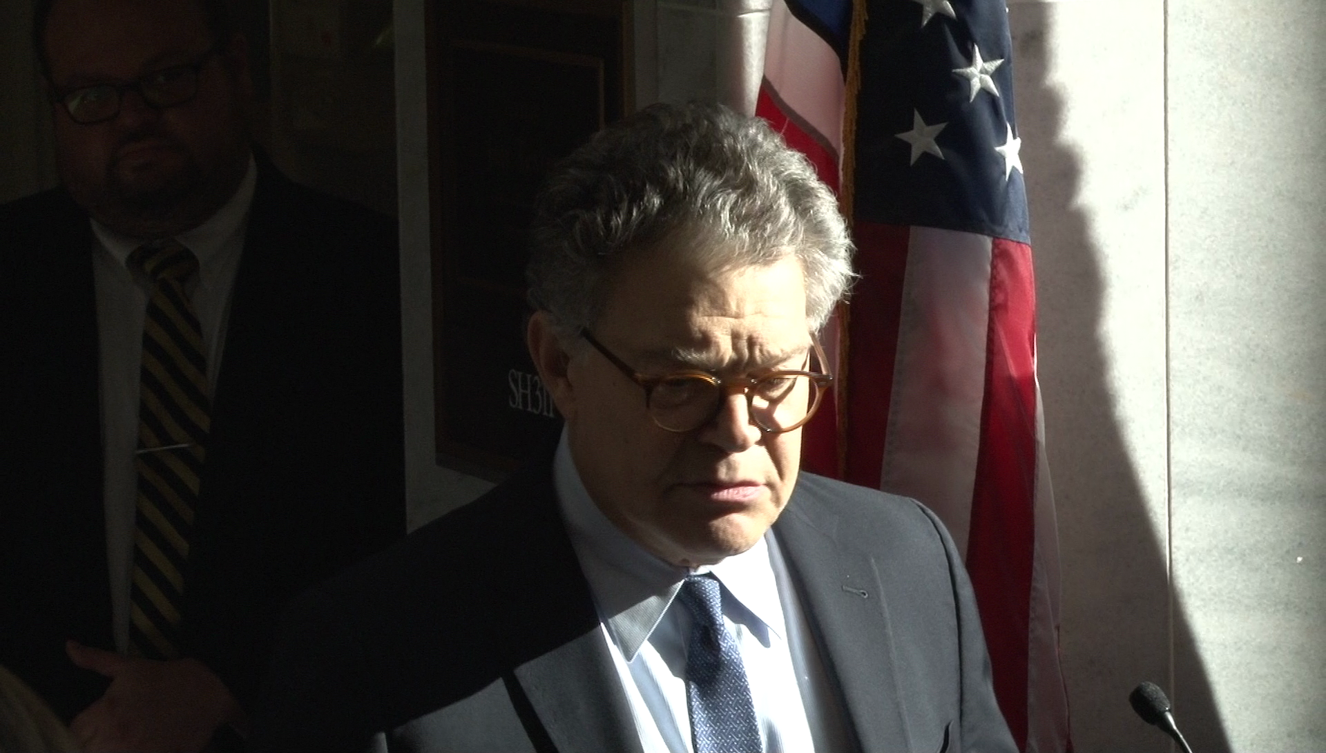 Sen. Al Franken, D-Minn., holds a press briefing in Washington, Monday, Nov. 27, 2017. (Sinclair Broadcast Group/Paul Courson)