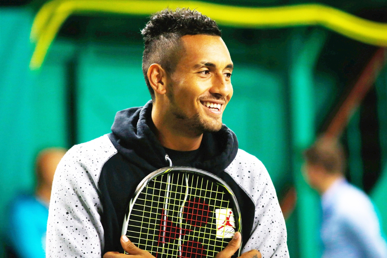 LONDON, ENGLAND - JUNE 12:  Nick Kyrgios during a tennis clinic for children prior to the start of the Aegon Championships at Queens Club on June 12, 2016 in London, England.  (Photo by Joel Ford/Getty Images)