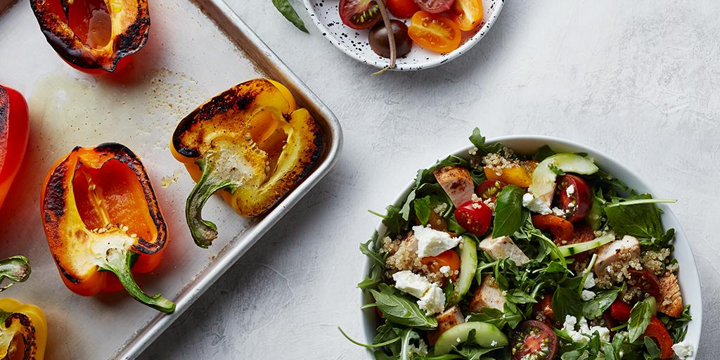 Get your Greek on with roasted peppers, heirloom tomatoes, cucumbers and feta — close your eyes and it's almost like you're on the Mediterranean. (Image: Courtesy sweetgreen)