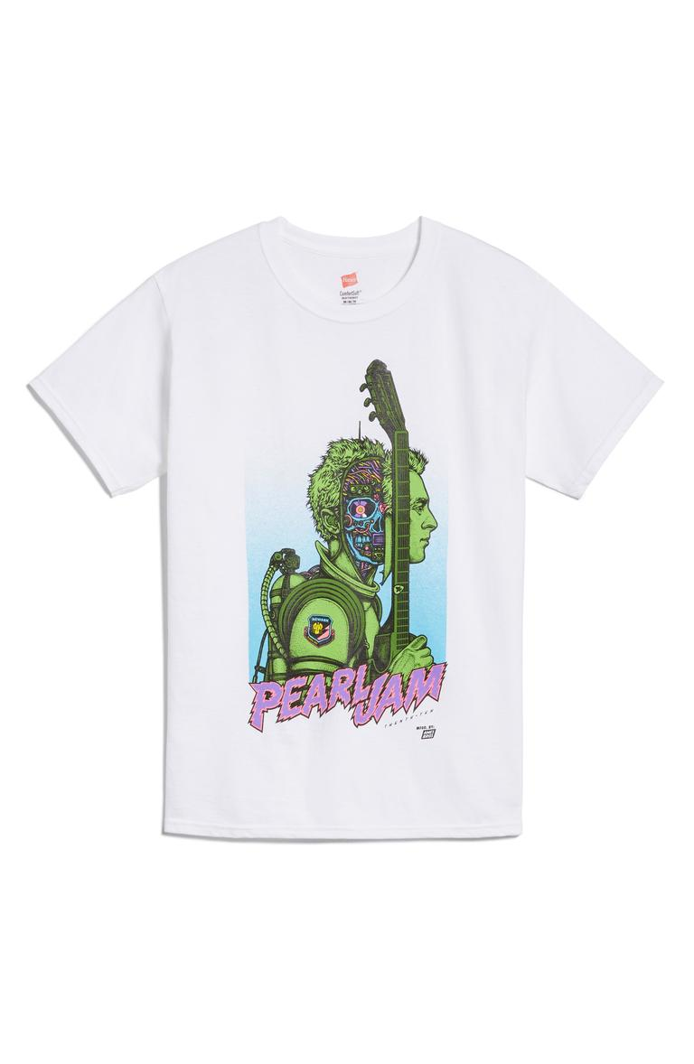 "Ames Bros Green Man Pearl Jam Tee - $40. A good t-shirt never goes out of style. You can dress them up or down, but it's all about what statement your shirt is making! Here are our favorites from the Pop-In@Nordstrom x Hanes. This all-exclusive is a multi-branded collab using Hanes tee's as ""wearable art."" Well known brands and designers took to the task such as Warby Parker, Opening Ceremony, Saturdays NYC, Blair Breitenstein, A.L.C., and more. All these tees will be available at Nordstrom but online as well at nordstrom.com/pop (Image: Nordstrom)"