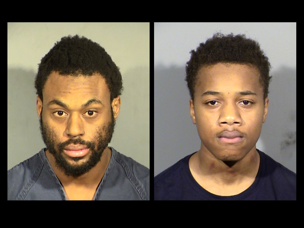 Joel West and Keontae Campbell were arrested for assault with use of a deadly weapon; and one count each of carrying a concealed firearm; discharge of a firearm from or within a structure; resisting a public officer with use of a firearm; possession of a controlled substance; and possession of a document or personal identifying information.  (LVMPD)