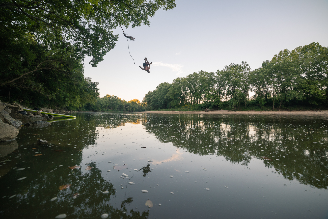 While the river is primarily about 2-4 feet deep, there are sections where water pools deeper.  Watch for rope swings, but be sure to check that your landing area is safe! / Image: Allen Meyer // Published: 9.7.18