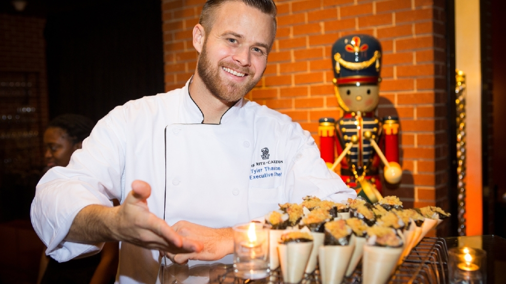 RitzGT_Holiday_Tuna Cones and Exec Chef Tyler Thaxton.jpg