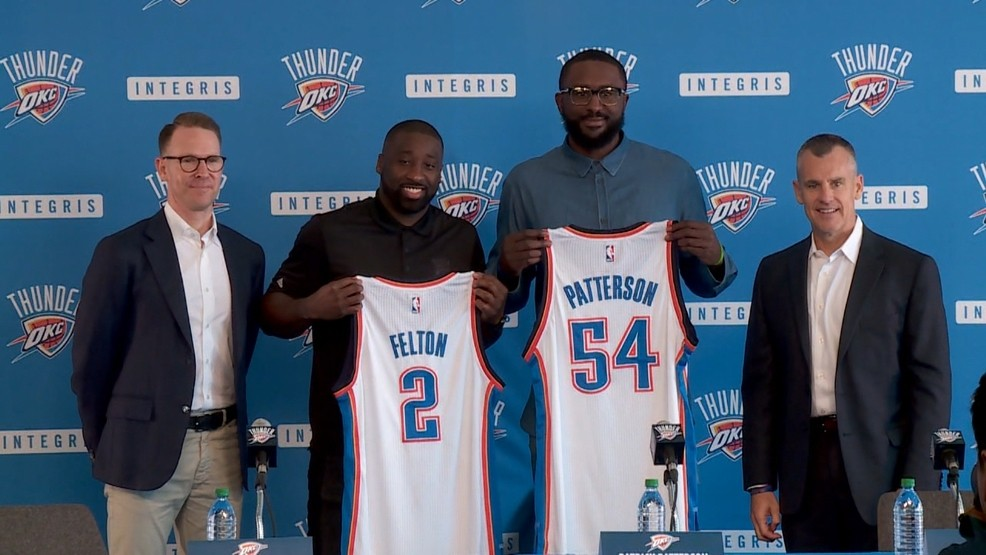 Raymond Felton and Patrick Patterson are introduced to the media. (KTUL)
