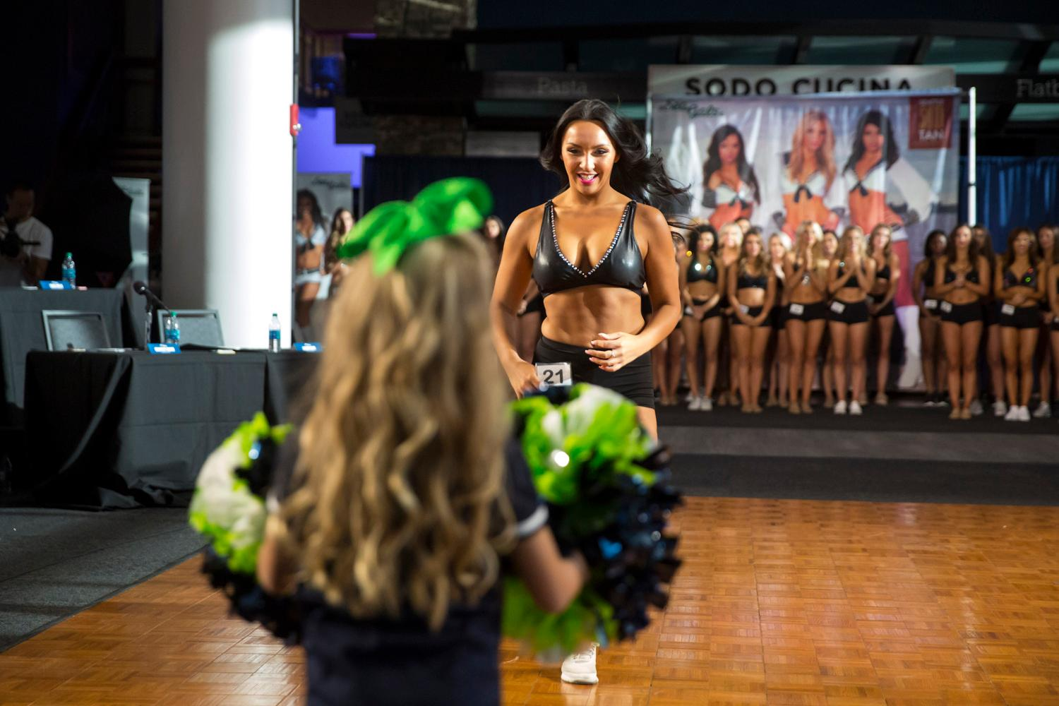 Welcome Michelle, a 2018 Sea Gal! Dancers performed a choreographed routine and spoke briefly about themselves. The entire evening was live broadcasted on the Seahawks website. (Sy Bean / Seattle Refined)