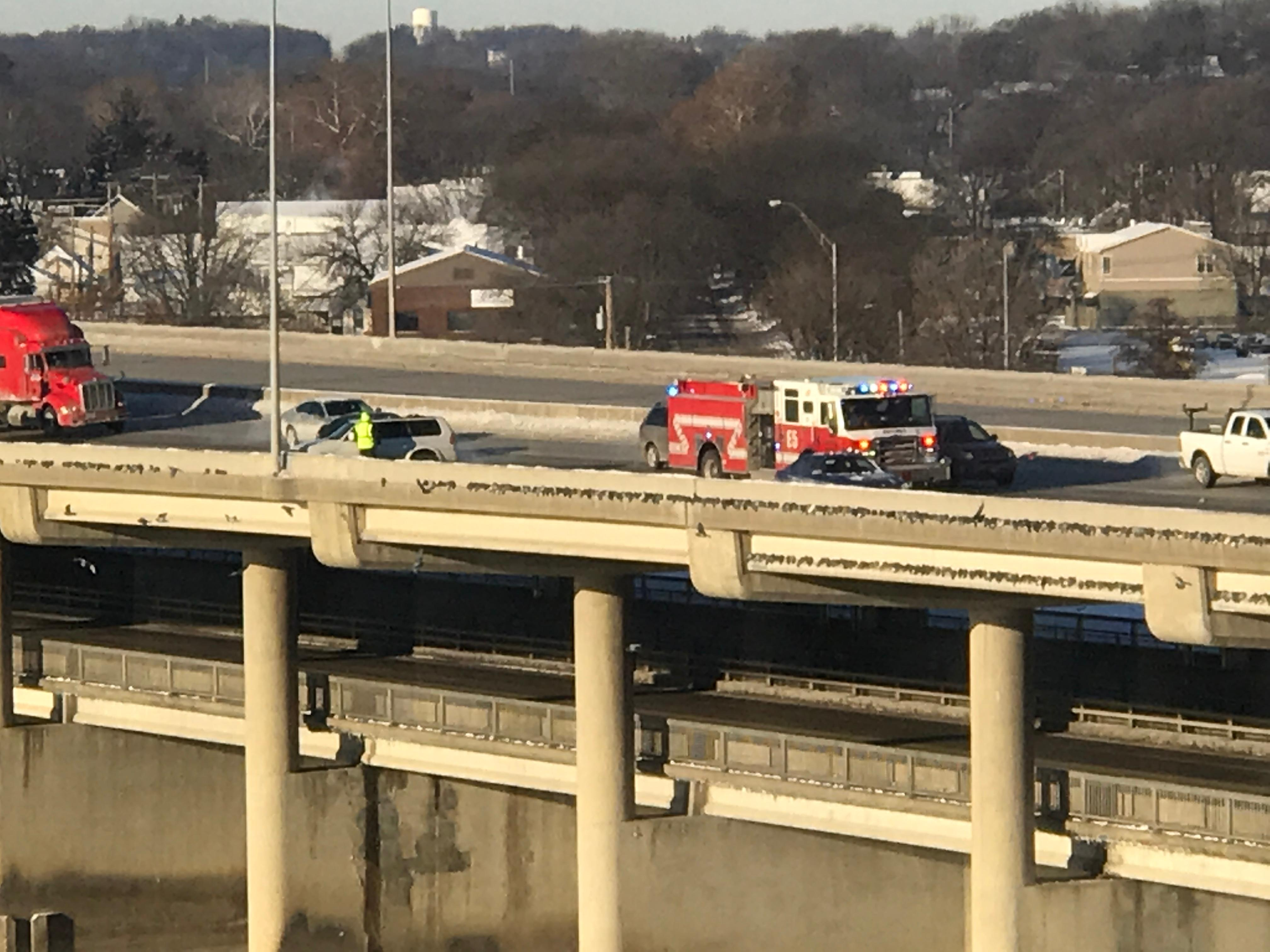 14 vehicles involved in a crash on I-380 southbound Tuesday morning. Two people treated with minor injuries.<p></p>