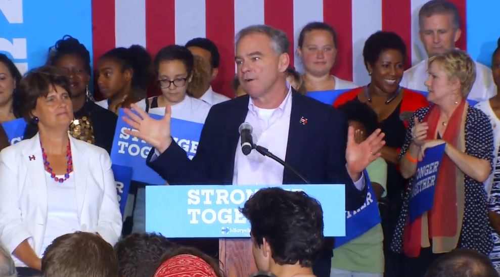 The scene at the Arthur R. Edington Education & Career Center in Asheville on Monday when Sen. Tim Kaine took the stage at a campaign event. (Photo credit: WLOS staff)
