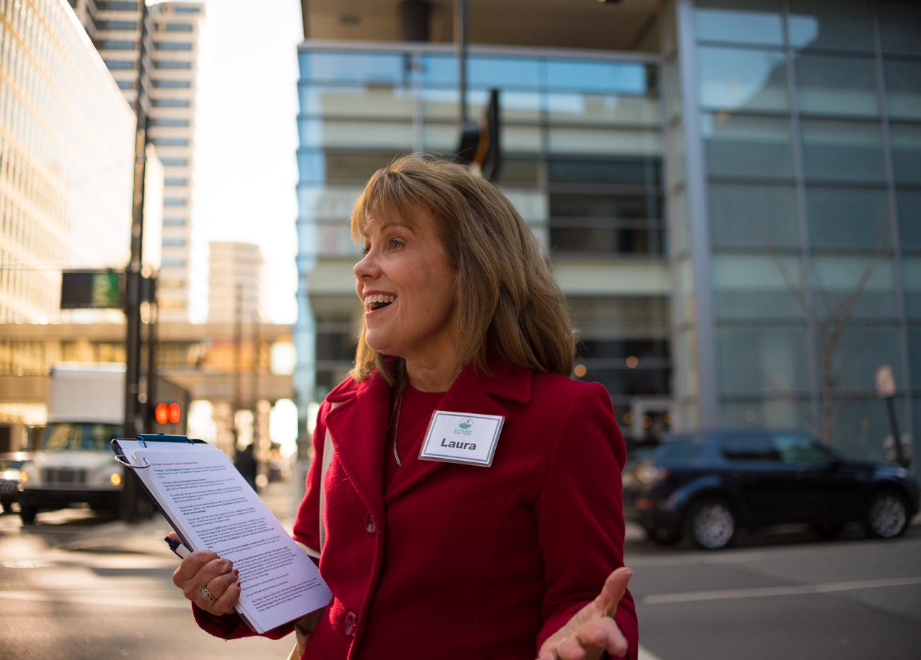 Laura Noyes, tour guide of the Cincinnati Streetcar Food Tour / Image: Phil Armstrong, Cincinnati Refined // Published: 1.3.17