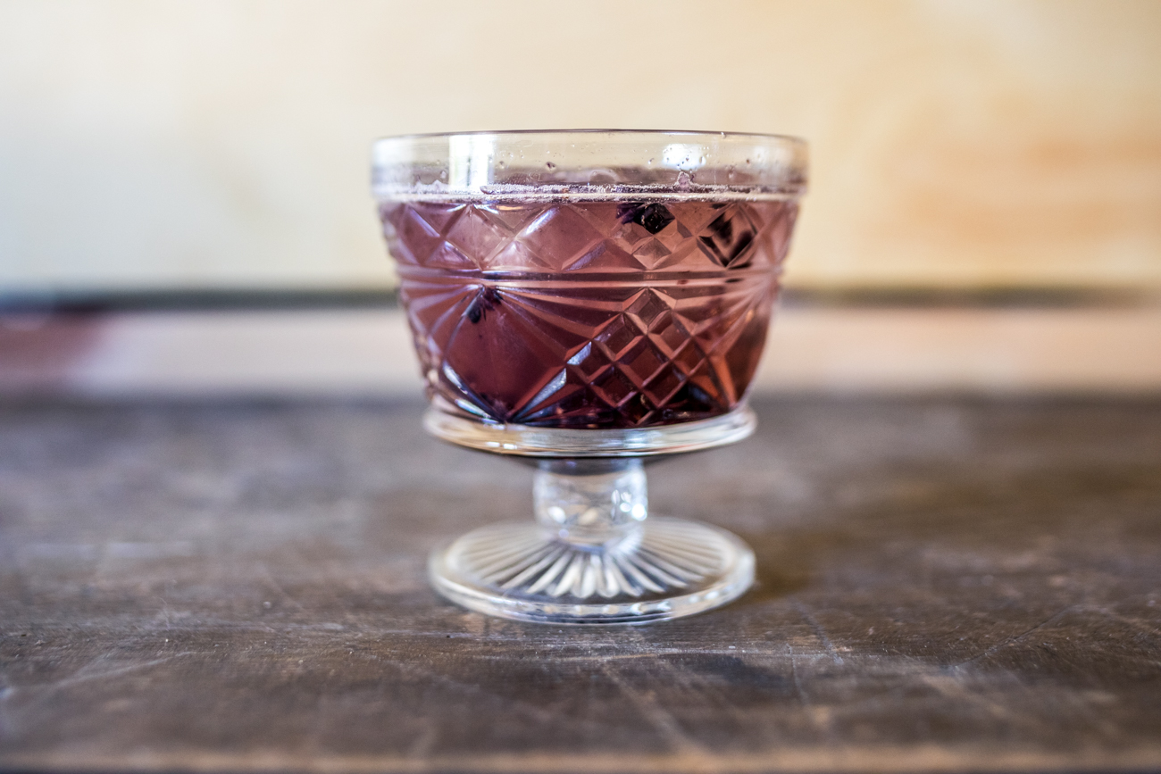 Bourbon Smash: an Old Fashioned-style cocktail with Bulleit bourbon, blackberries, & basil  / Image: Catherine Viox{ }// Published: 10.11.20