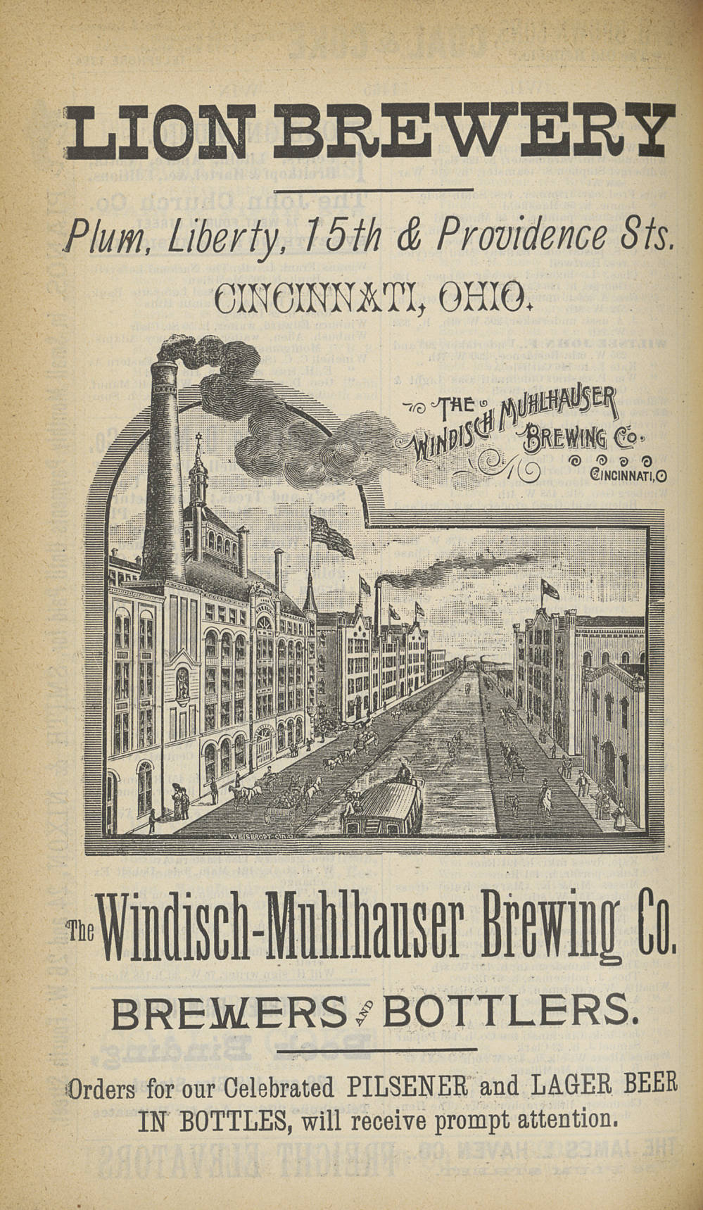 Windisch-Muhlhauser Lion Brewery advertisement / DATE: 1889 / COLLECTION: Public Library of Cincinnati and Hamilton County, Joseph S. Stern, Jr. Cincinnati Room / Image courtesy of the digital archive of The Public Library of Cincinnati and Hamilton County // Published: 5.3.18