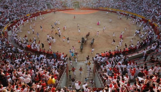 Bulls chase revelers during the final running of the bulls at the San Fermin festival in Pamplona, Spain, on Sunday, July 14.