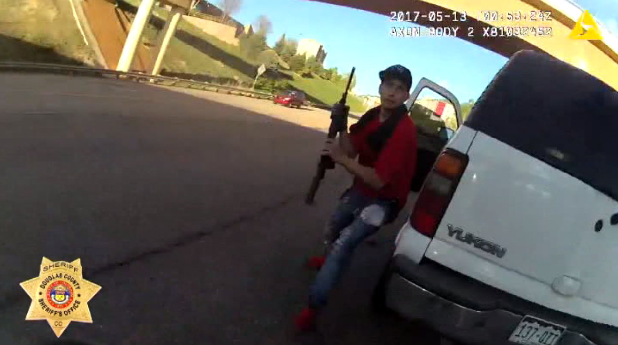 Coloardo Police release body cam footage of close-range shooting. (Douglas County Sheriff's Office via CNN Newsource)