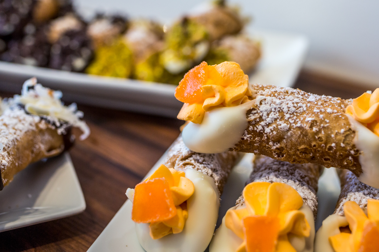 The café is open Thursday 6-10 PM, and Friday-Saturday 6-11 PM. They have new cannoli flavors weekly, including sweet, fruity, and chocolate varieties, as well as savory selections like crab rangoon and Bloody Mary. / Image: Catherine Viox // Published: 7.4.19