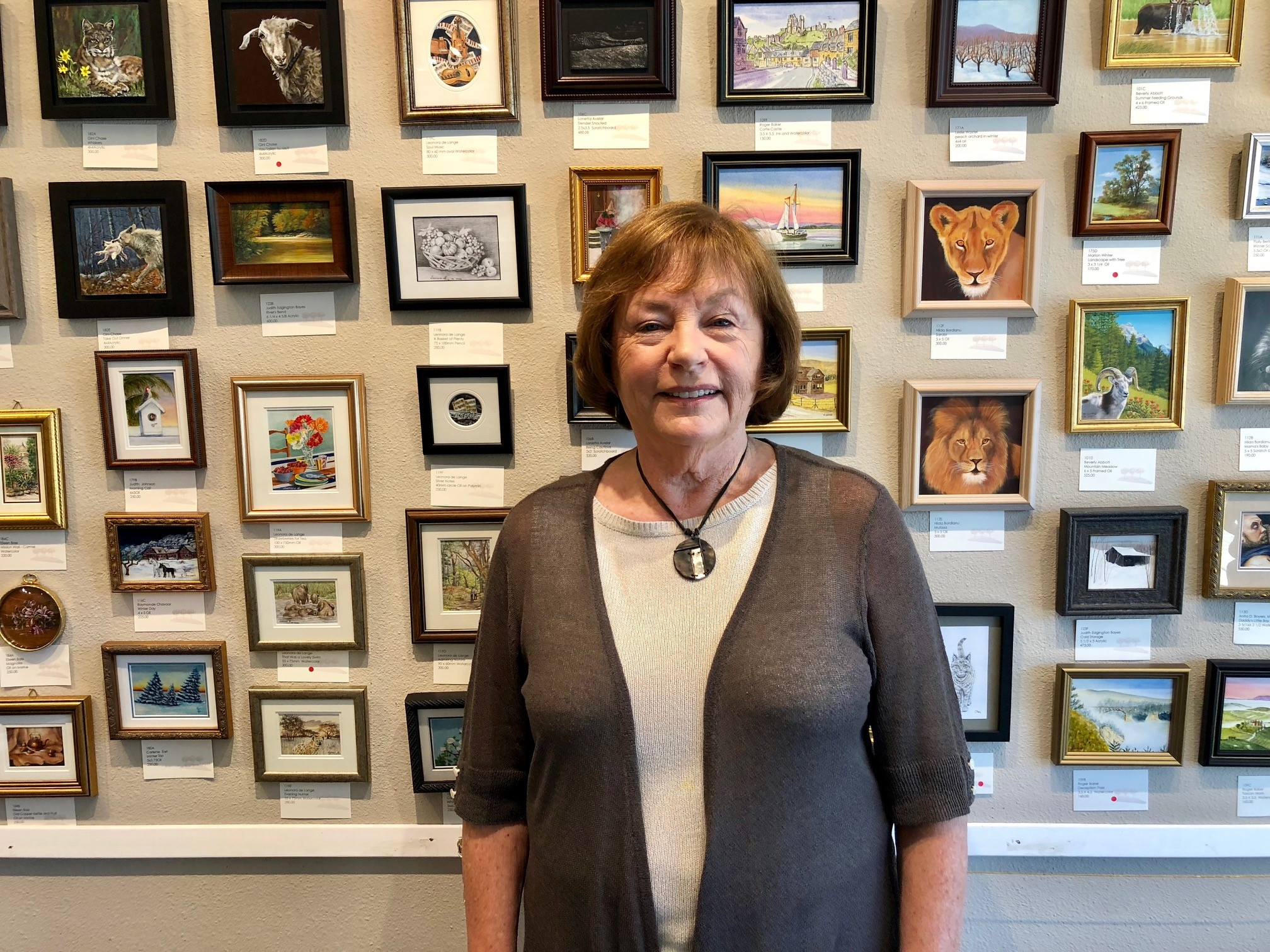 Lois Haskell, Artist and Chair of the{ }The Parklane Gallery Annual International Miniature Show in Kirkland. It features around 400 amazing works of art. Each is 5 x 5 or smaller.
