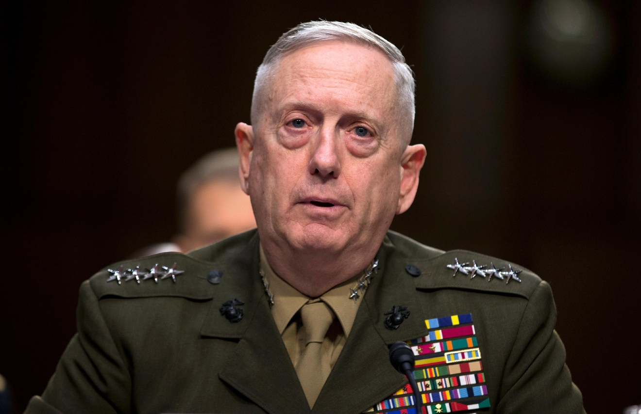 FILE - In this March 5, 2013, file photo, then-Marine Gen. James Mattis, commander, U.S. Central Command, testifies on Capitol Hill in Washington.  (AP Photo/Evan Vucci, File)