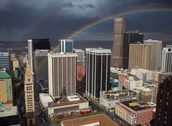 IMAGE: IG user @lightbayphoto / POST: A double rainbow over downtown Denver. Canon 1D Mark IV with Canon 16-24mm f/2.8L
