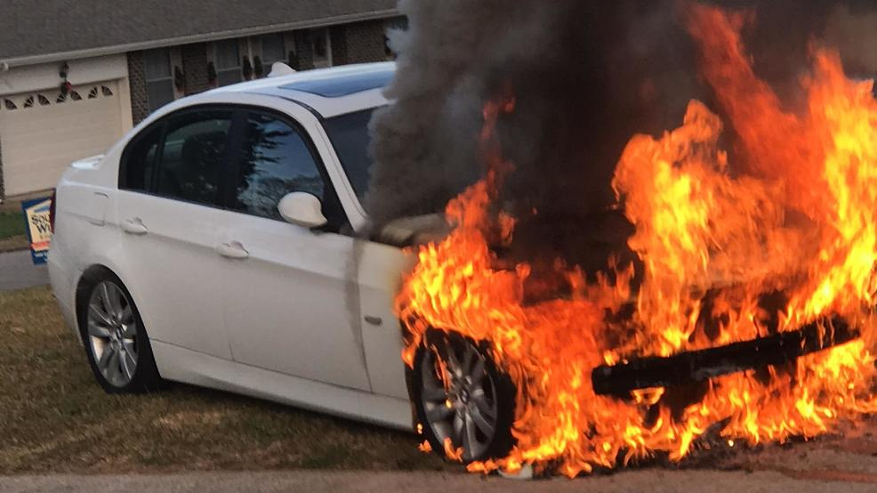 Kevin Walked Out To His Garage Sunday Afternoon And Saw Car On Fire First Instinct Push It The Yard Image