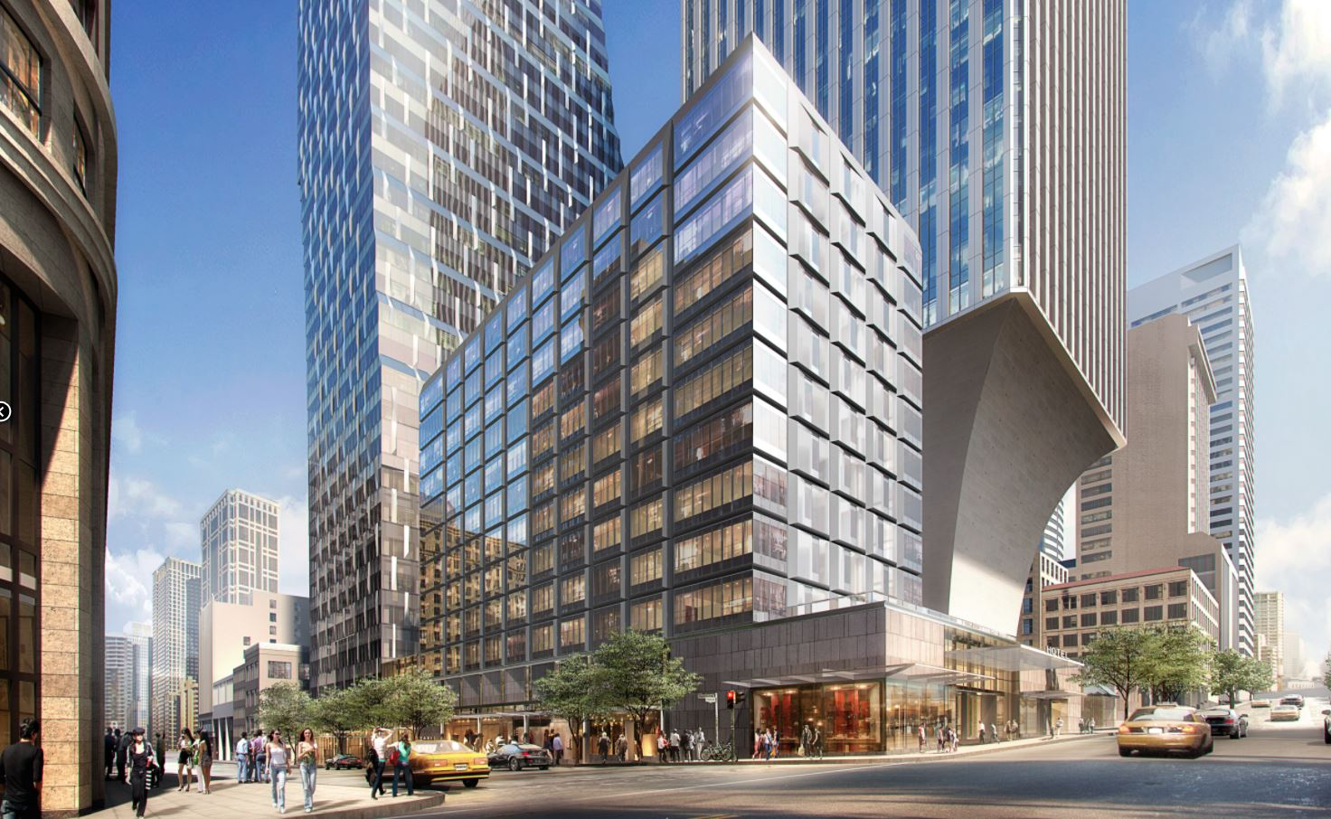 Views of Rainier Square from Fourth Avenue and University Street.. (Renderings courtesy of Wright Runstad & Company)