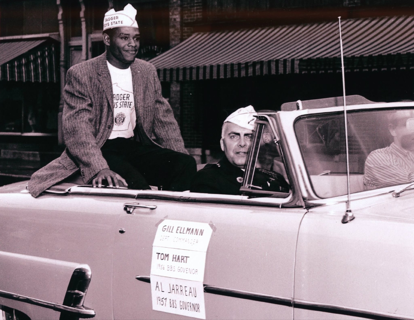Newly inaugurated Badger Boys State governor Al Jarreau rides down Watson Street in Ripon in 1957. (Photo courtesy Ripon College)