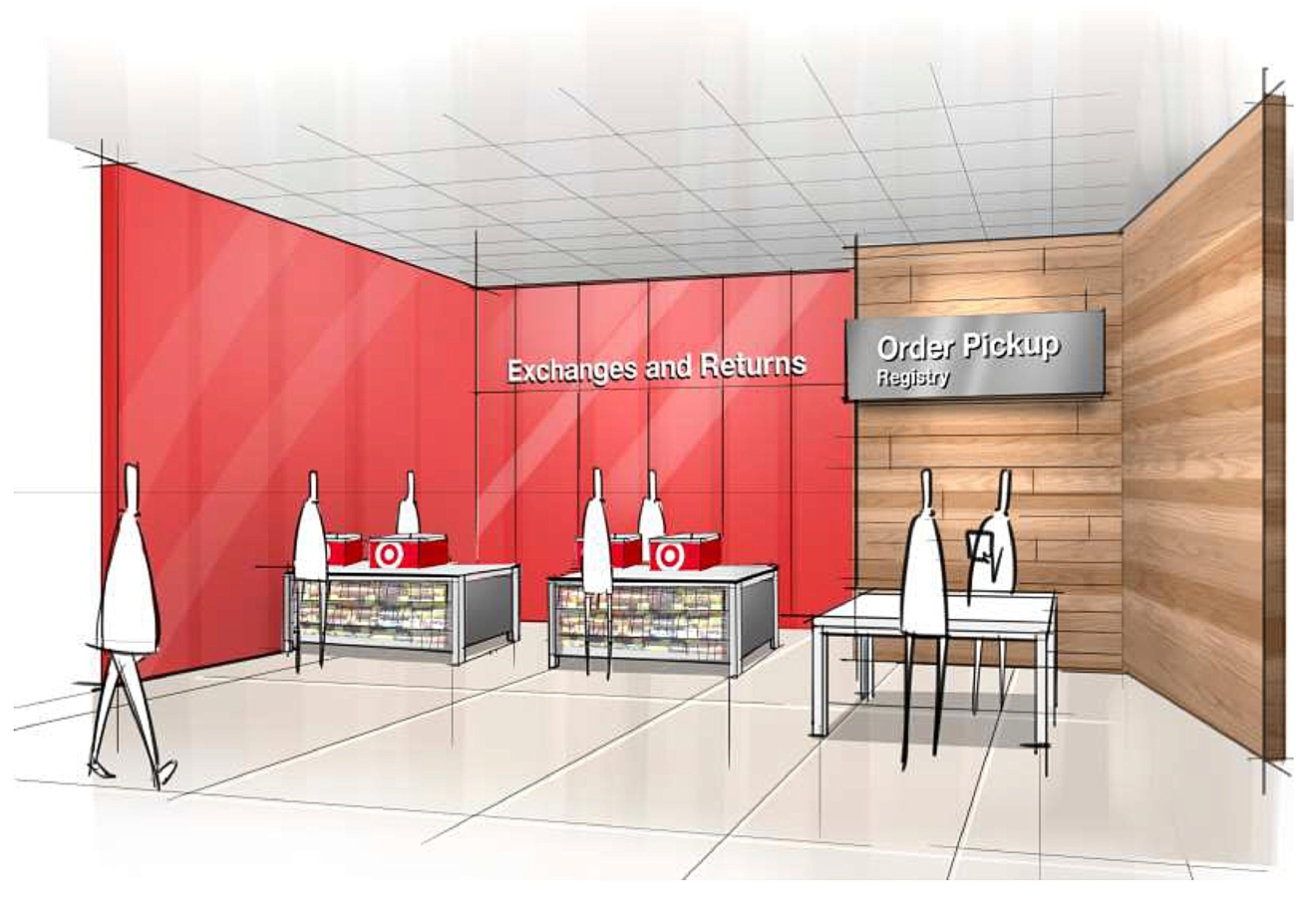 "This image provided by Target Corp. shows a rendering of an area of a redesigned Target store, featuring an ""ease"" entrance to the Exchange/Returns and Order Pickup sections of the store. On Monday, March 20, 2017, Target announced an ambitious redesign of its stores, aimed at helping people who need to dash in for essentials to get out quickly while encouraging those who want to wander the aisles to linger. (Target Corp. via AP)"