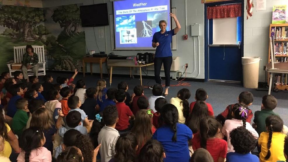 chief meteorologist katy morgan visits cole elementary