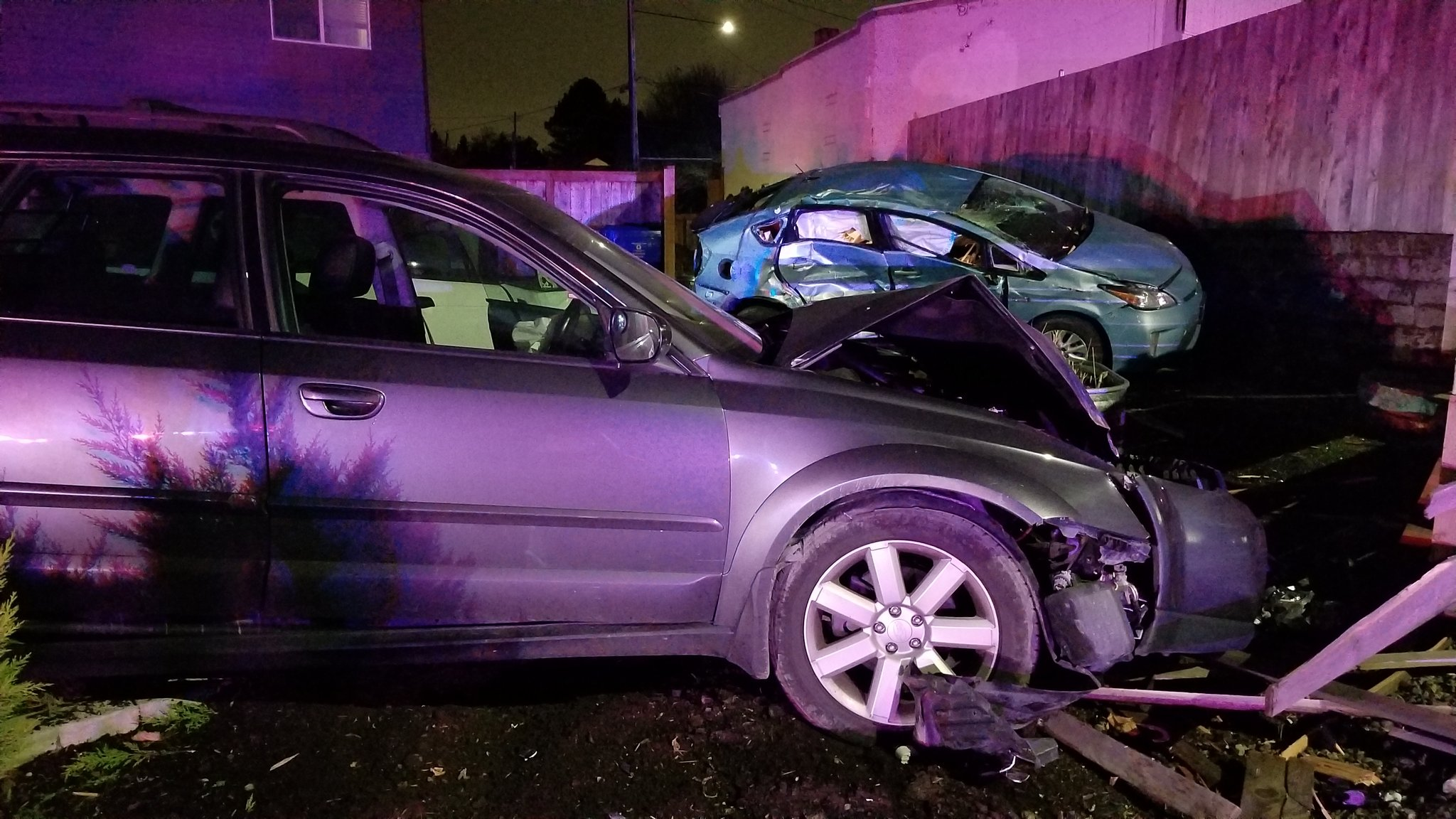 Police say a driver in a Subaru crashed into a Toyota Prius in Southeast Portland on Dec. 18, 2017. Photo courtesy Portland Police Bureau