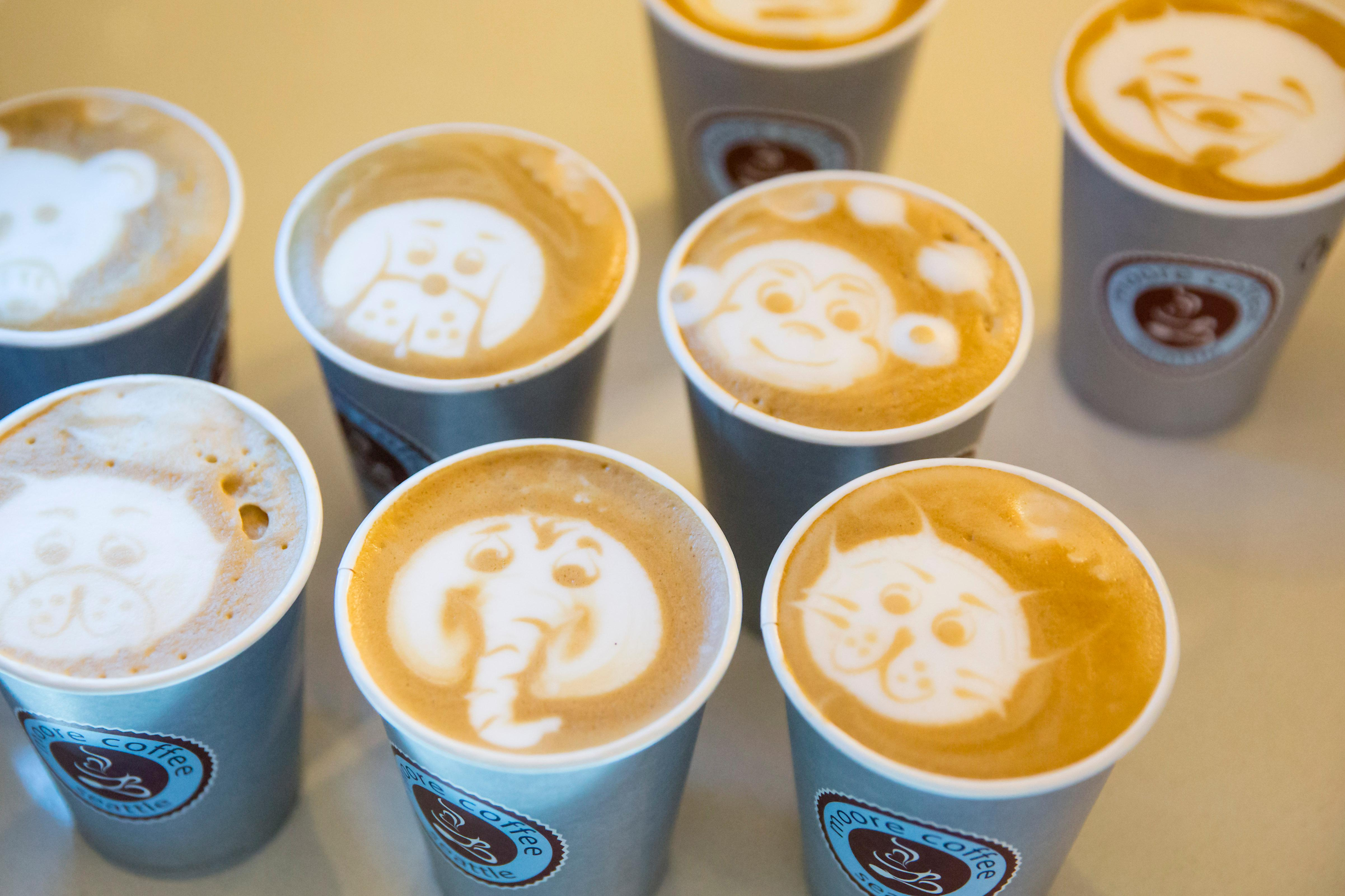 One location we couldn't miss for National Coffee Day was Moore Coffee, located at 1930 2nd Ave. The coffee shop specializes in latte art and will even do creative drawings on top of macha or taro lattes. (Sy Bean / Seattle Refined)
